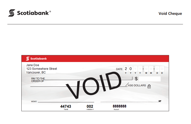 bank of nova scotia transit number on cheque